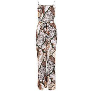Animal Print Tie Waist Jumpsuit